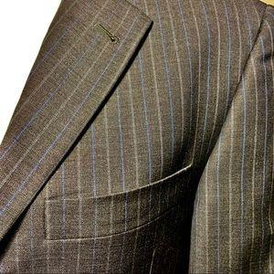 Burberry London Suit Grey Blue Pinstripe 36R